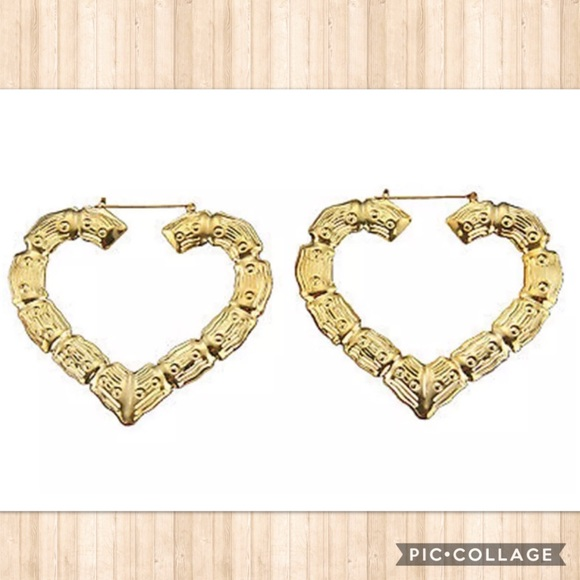 Jewelry | Large Heartshaped Goldtone Bamboo Earrings | Poshmark